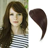 Dsoar Side Bangs Clip in Real Human Hair Bangs Natural Clip on Side Bangs Straight Fringe Hair Extensions(Dark Brown Color)