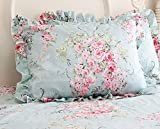 Yolley Store Country Rose Roses Pink Floral Print Pillowcases Shabby Chic Ruffles Bedding Pillow Covers Cotton Fabric Material Standared Size 19' x 29' (Blue Rose)