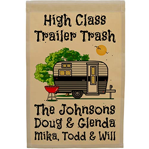 Happy Camper World High Class Trailer Trash Personalized Campsite Flag, Customize Your Way (Black/Gray Trim)