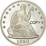 GUIMEI Moneda de Copia de Plata chapada en latón de Edeg de 1850 sin Lema sobre águila con caña de Estados Unidos Liberty Sentado Medio dólar 1850