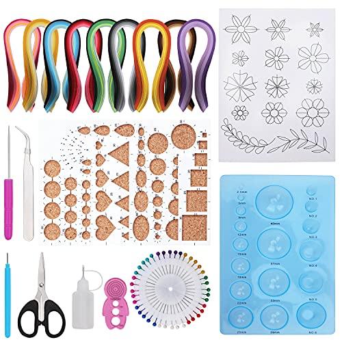 BELLE VOUS Papier Quilling Set Anfänger - 45 Farben 900 Streifen (910er Pack) - Quilling Papierstreifen Set mit Quilling Werkzeug und Quilling Zubehör für DIY Kunst & Cardmaking