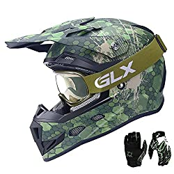 Adult Offroad Helmet Goggles Gloves Gear Combo