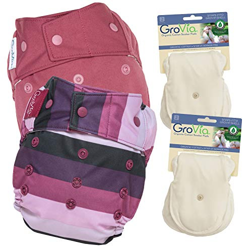 GroVia Experience Package: 2 Shells + 4 Organic Cotton Soaker Pads (Color Mix 4 Snap)