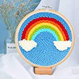 HomeCentro DIY Punch Needle Embroidery Starter Kits Tools Supplies for Adults Kids Beginners with Adjustable Pen Threader Yarn Fabric Printed Cloth Hoop Cute Creative Patterns