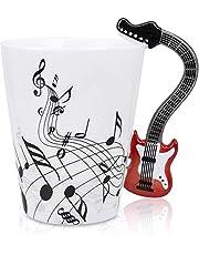 AngKng Novelty Guitar Ceramic Cup Personality Music Note Milk Juice Lemon Mug Coffee Tea Cup