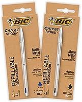 Bolígrafo BIC de Metal Reutilizable- BIC Cristal Re'New 2 Bolígrafos de Calidad y 2 Recargas - Tinta Azul y Negro, Pack...