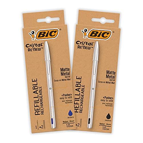 Bolígrafo BIC de Metal Reutilizable- BIC Cristal Re'New 2 Bolígrafos de Calidad y 2 Recargas - Tinta Azul y Negro, Pack de 2+2