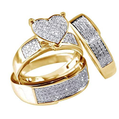 Barlingrock Anillos, Joyería del corazón Zafiro Blanco Aniversario Promesa Boda Anillo de Compromiso Conjuntos Nupciales Amarillo Dorado Lleno