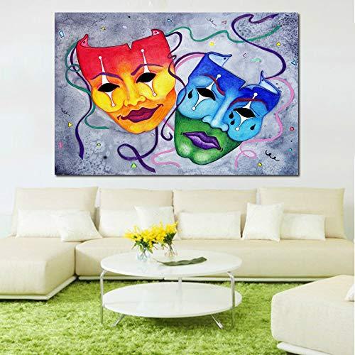 BuhuAZXM Twee Grimassenmaskers gedrukt schilderij op canvas stilleven voor woonkamer decoratie muurkunst afbeeldingen 50x75CM Geen frame.