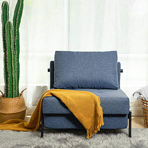 Vonanda Sofa Bed, Folding Chair Bed Multi-Function Day Bed Modern Guest Bed with Hidden Legs and Breathable Linen Fabric for Small Living Space, Denim Blue