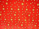 Satin Stoff Glitzer Sternenhimmel rot Sterne Meterware