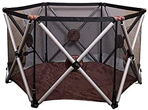 Hfyg Playpens Brown Baby Playpen Babies with Impact Barrier Playground for Children with Safety Guard Fence pens