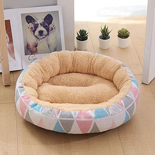 PENVEAT Weiches Haustier Hundebett Waschbar Runde Katze Kinderbett Nest rutschfeste Haustier Haus Hundekissen Kurze Plüschmatten Liege Sofas Produkte für Hunde, A, M 50X50X12cm