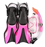 Two Bare Feet Junior SILICONE Mask, Snorkel & Fins 3PC Kids Diving Set