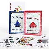 LotFancy 2 Barajas Cartas Poker Clásica, Standard Tamaño Playnig Cards por el Blackjack, Euchre, Los Corazones, Incluso al Solitario (Azul & Rojo)