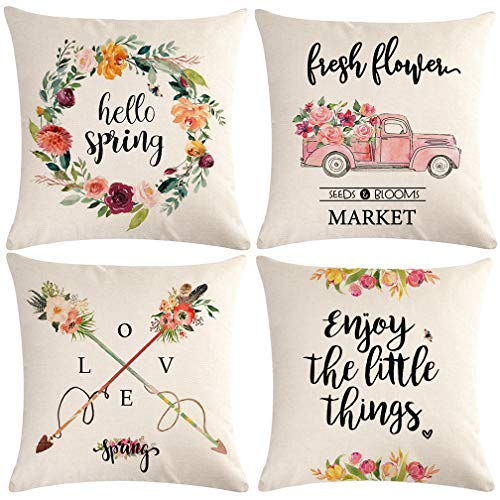 ULOVE LOVE YOURSELF Decorative Pillow Covers Set of 4 Spring Decorations Fresh Flowers Throw Pillow Covers Home Decorative Pillowcases Farmhouse Decor Cushion Cover 18x18 Inch for Sofa Couch Porch