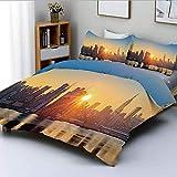 Juego de funda nórdica, Tranquil Sunrise at Midtown Manhattan Estados Unidos NYC Waterfront America Juego de cama decorativo de 3 piezas con 2 fundas de almohada, color melocotón azul pálido, el mejor
