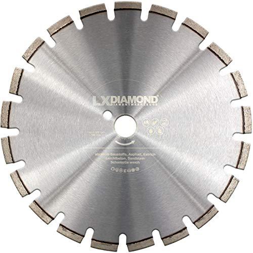 LXDIAMOND Diamant-Trennscheibe 400mm x 30,0mm Premium Diamanttrennscheibe für abrasive Baustoffe, Estrich, Asphalt, Diamanttrennscheibe 400 mm