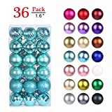 GameXcel Christmas Balls Ornaments for Xmas Tree - Shatterproof Christmas Tree Decorations Large Hanging Ball Teal 1.6' x 36 Pack