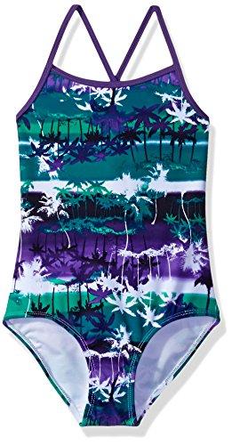 Kanu Surf Girls' Big Bali Beach Sport Banded 1 Piece Swimsuit, Alice Purple/Green, 8