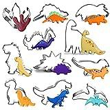 Molde Galletas Dinosaurios, Juego de Cortadores de Galletas de Dinosaurio, Molde de Acero Inoxidable, Accesorio de Cocina Hornear, para Manualidades, Fondant, Decoración, 11 Piezas