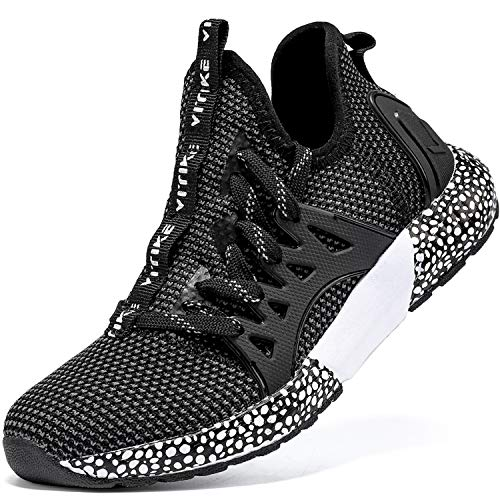 Elaphurus Kinder Sneaker Jungen Sportschuhe Mädchen Hallenschuhe Outdoor Laufschuhe Tennisschuhe für Unisex-Kinder Schwarz Weiß, 35 EU