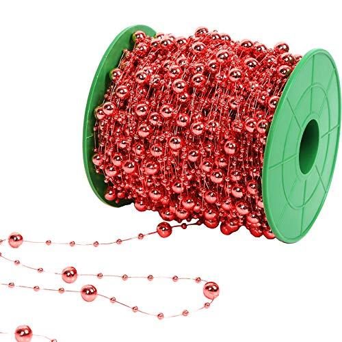 Ujuuu 197 Feet Christmas Tree Beads Artificial Pearls Beads Garland Chain Plastic Beads for Christmas Wedding DIY Decoration Supplies (Red)