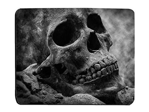 Skull Mouse Pad Grey Skull Background Customized Rectangle Non-Slip Rubber Mouse pads Gaming Mouse Pad(240mm x 200mm)