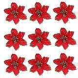 SOIMISS 24 Piezas de Flores de Nochebuena con Purpurina Navideña Flores Artificiales Decorativas Falsas Selección de Plantas de Seda Arreglo Floral para Adorno de Árbol de Corona de