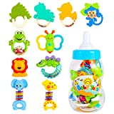CELETOY 10 Pcs Baby Rattle Set, Baby Rattles and Teethers, Infant Teether Rattle Toys, Babies Grab Shaker and Spin Rattles, Early Educational Toys for 0 - 12 Month, Girls, Boys…