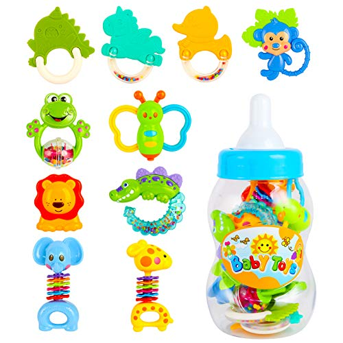 CELETOY 10 Pcs Baby Rattle Set Baby Rattles and Teethers Infant Teether Rattle Toys Babies Grab Shaker and Spin Rattles Early Educational Toys for 0  12 Month Girls Boys