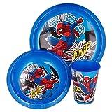Set Stoviglie Servizio da Tavola per Bambini 3 Pezzi con Piatto, Ciotola e Bicchiere Easy 260 ml in confezione regalo (Spiderman)