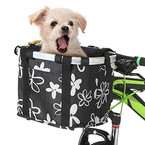Lixada Cestino Pieghevole per Bici Cestino per Animali Domestici per Cani Manico per Bicicletta Staccabile Borsa per Ciclismo Borsa Anteriore