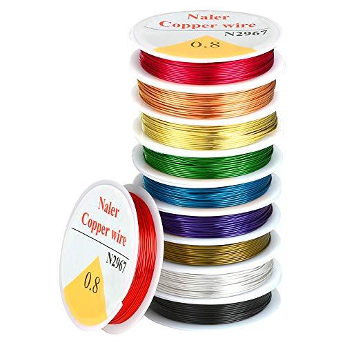 Naler 0,8 mm Kupferdraht Set Bunt in 10 Farben Basteldraht Schmuckdraht Schmuck Faden für Basteln (10 Stück)