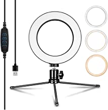 LED Ring Light & Selfie Ring Light, Dimmable with Light Aluminum Alloy 3 Lights Mode 360 Degree Rotating 6 Inches, for Live Stream, YouTube Video or Makeup with 3 Light Modes and 10 Brightness Leve …