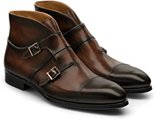 Costoso Italiano Brown Leather Formal Slip On Dress Monk Strap Boots for Men