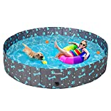 PAWCHIE Foldable Dog Swimming Pool - Portable Collapsible PVC Pet Bathing Tub for Large Dogs Cats Kids