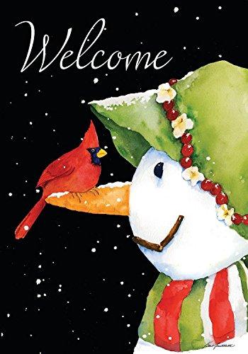 "Briarwood Lane Cardinal Snowman Winter Garden Flag Welcome Primitive 12.5"" x 18"""