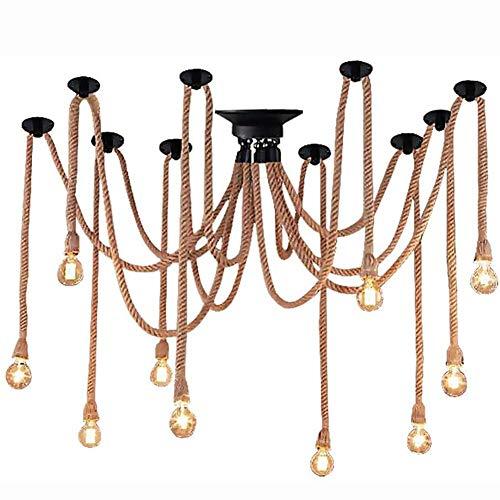 TETHYSUN Lámpara de techo con colgante vintage, de cuerda de cáñamo industrial, ajustable, Edison E26, loft bar, restaurante, cuerda de cáñamo (color : cuerda de cáñamo)