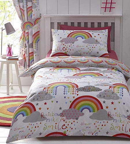 Kids Club Clouds and Rainbows Reversible Duvet Cover, cotton-blend, White, Single