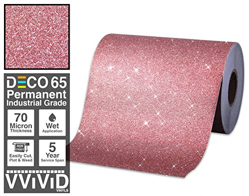 VViViD Glitter Red DECO65 Permanent Adhesive Craft Vinyl Roll for Cricut, Silhouette & Cameo (6ft x 1ft)