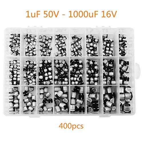 wifehelper Elektrolytkondensator, 400 Stück 24 Werte SMD - Elektrolytkondensator - Sortimentkasten Kit 1uF - 1000uF für TV Monitor Netzteile und PCs