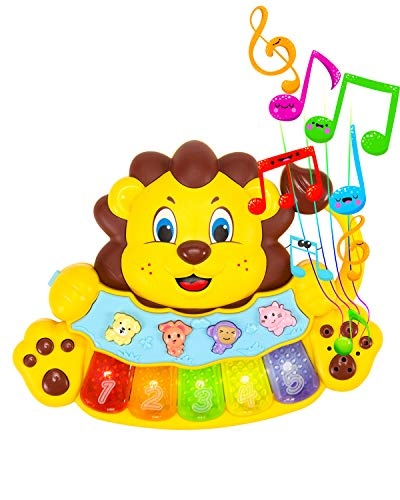 STEAM Life Educational Baby Musical Instrument Toy Piano - Lion Light Up King Piano Toy Keyboard has 5 Numbered Keys - Plays Songs and Music Memory Game (Baby Lion King Piano)