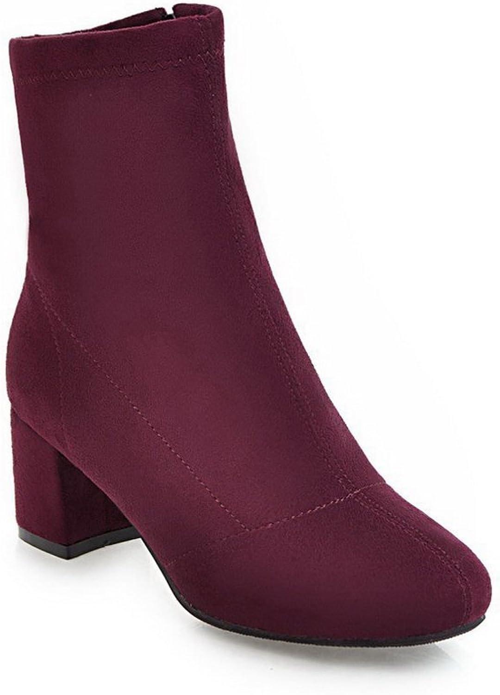 BalaMasa Womens Solid Chunky Heels Mid-Calf Suede Boots ABL10617