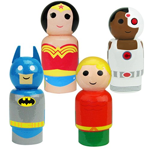 Bif Bang Pow! DC Comics Justice League Batman, Wonder Woman, Aquaman, Cyborg Pin Mate Wooden Figure Set of 4 Collectible, 2""