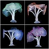 5 Pzs Acuario Coral de Silicona Plantas de Coral Artificial Decoraciones Coralinas Marina Realista Ornamento para Paisaje de Tanque de Pescados Acuario en Naranja Rosa Púrpura Verde Azul Color