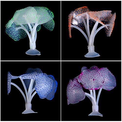 Chstarina 5 Pezzi Corallo Artificiale per Acquario Decorazione Pianta di Corallo Silicone Falso Vegetali di Corallo Ornamento Incandescente Effetto pe