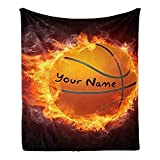 CUXWEOT Custom Blanket with Name Text,Personalized Fire Basketball Super Soft Fleece Throw Blanket for Couch Sofa Bed (50 X 60 inches)