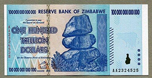 Banco de la Reserva de Zimbabwe billete de dólar $ - 100 Trillion Dollars