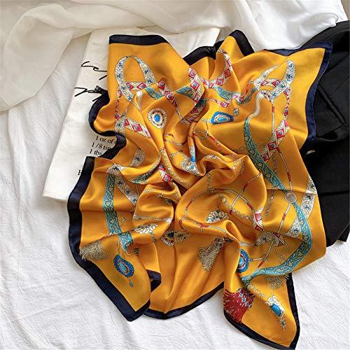 WYR Fila Bufanda Toalla De Seda Femenina Femenina Retro Retro Pequeña Bufanda De La Sección Delgada Camisa De La Toalla De Mening Hilado Vestido De Mujer Regado D-OneSize